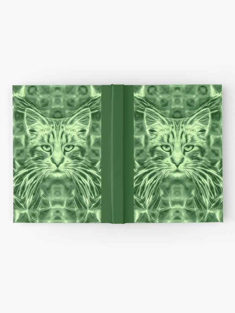 Alternate view of Cat in green #Art Hardcover Journal