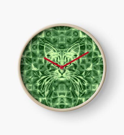Cat in green #Art Clock