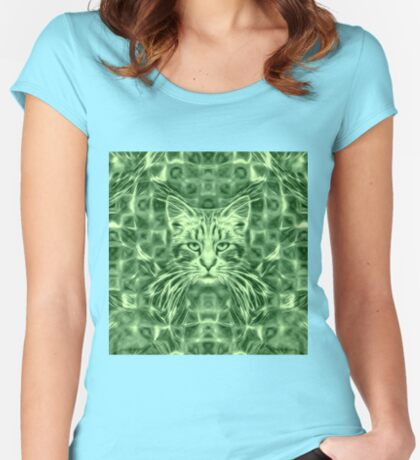 Cat in green #Art Fitted Scoop T-Shirt