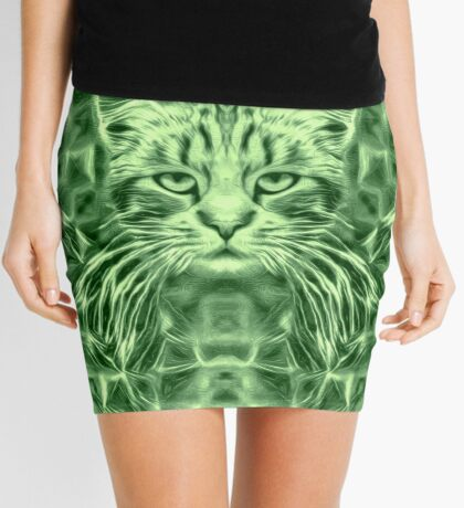 Cat in green #Art Mini Skirt