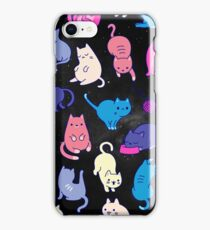 Space Cats - Blue black Pink Purple Cat Galaxy Stars Star Kitty Cat Pattern iPhone Case Cover iPhone Case/Skin