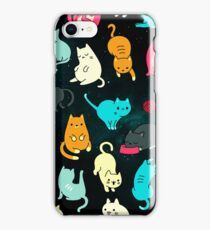 Space Cats - Turquoise Orange Pink Black Cat Galaxy Stars Star Kitty Pattern iPhone Case Cover iPhone Case/Skin