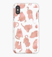 Cats - Rose Gold Pink Cat on Black Kitty Pattern iPhone Case