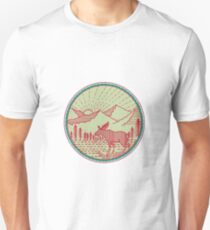 Moose River Mountains Sun Circle Retro Unisex T-Shirt