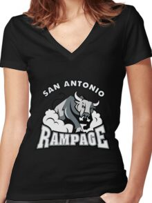 san antonio rampage apparel Women's Fitted V-Neck T-Shirt