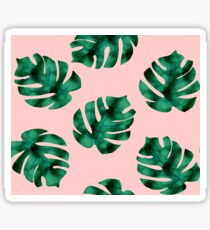 Tropical fern leaves on peach Sticker