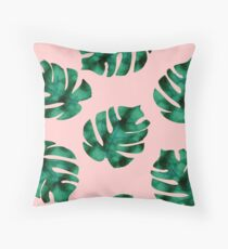 Tropical fern leaves on peach Throw Pillow