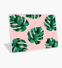 Tropical fern leaves on peach Laptop Skin