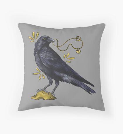 Crow with golden eye Throw Pillow