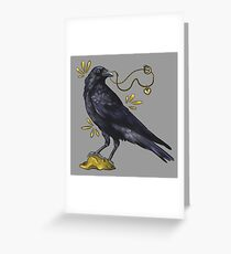 Crow with golden eye Greeting Card
