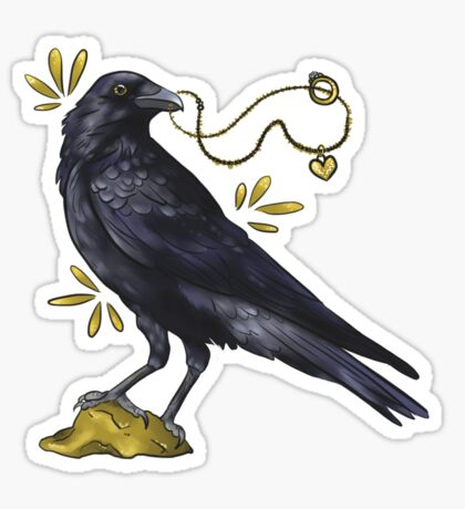 Crow with golden eye Sticker