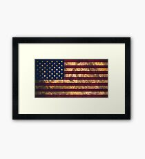 USA national flag background in vintage style dirty Framed Print