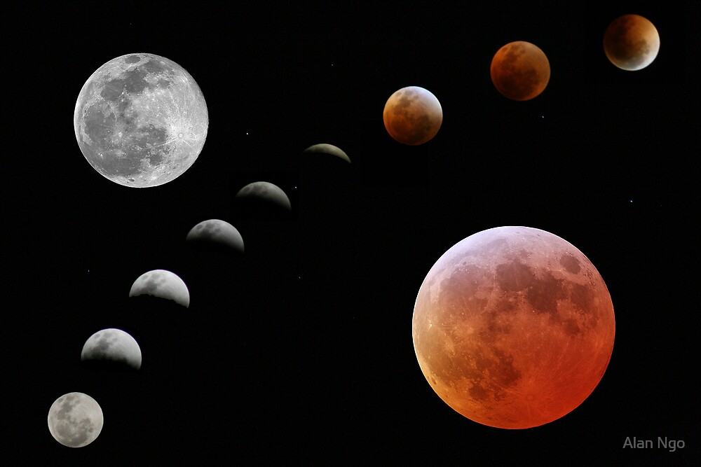 The Lunar Eclipse with Red Moons by Alan Ngo