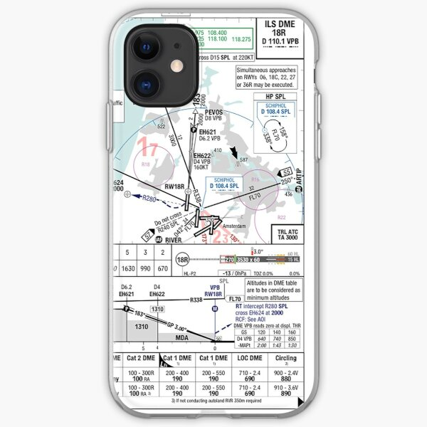 Amsterdam ILS 18R approach plate iPhone Soft Case