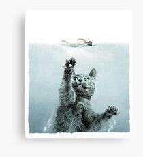 Cat Jaws Parody  Canvas Print
