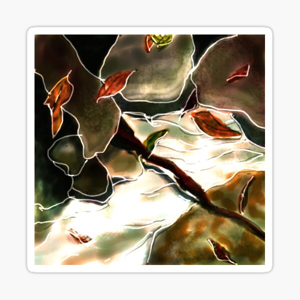 Abstract rocks and leaves Sticker