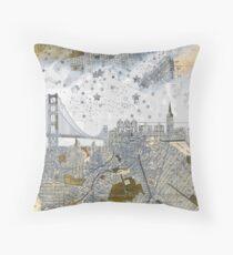 Alte Karte San Franciscos Skyline Dekokissen