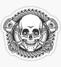 Skull with Pistons Against Motorcycle Gear Emblem Sticker