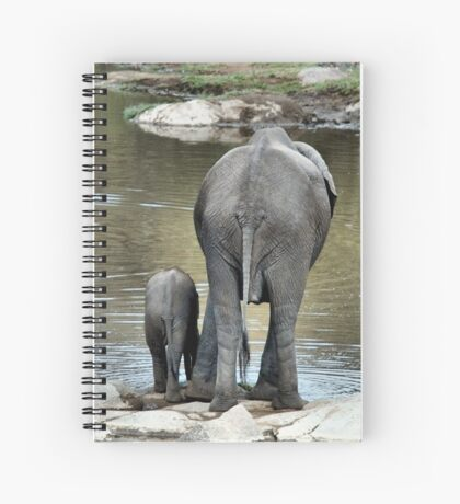 ANOTHER WONDERING MOTHER AND HER BABY -  THE AFRICAN ELEPHANT – Loxodonta Africana Spiral Notebook