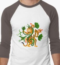 Mayan jaguar playing with a waterlily Men's Baseball ¾ T-Shirt