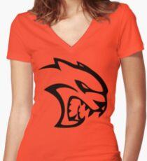 DODGE SRT HELLCAT LOGO Women's Fitted V-Neck T-Shirt