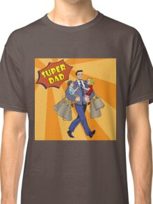 Super Dad with kids on his hands and Shopping Bags. Happy Father Classic T-Shirt
