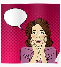 Surprised Woman with Bubble for Expression in Pop Art Style Poster