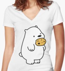 Ice Bear Cookies Women's Fitted V-Neck T-Shirt