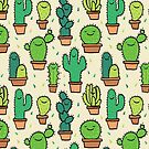 Cute Happy Cactus Cacti Pattern Tan Background by Claire Lordon