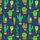 Cute Happy Cactus Cacti Pattern Navy Blue by Claire Lordon