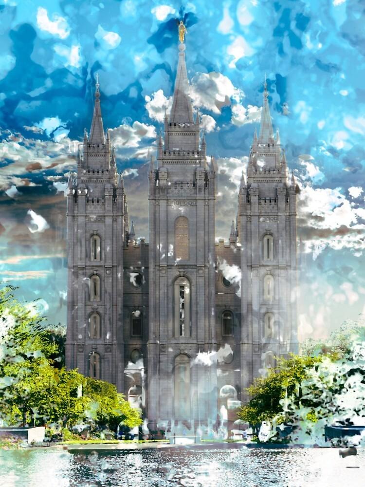 Salzsee LDS Tempel-Aquarell-Foto von melodyrosemedia