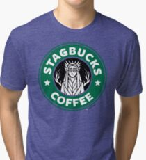 Elves at Stagbucks Tri-blend T-Shirt