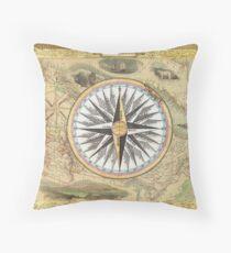 Old Nautical Map Throw Pillow