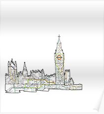 London Skyline with the tube Poster