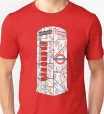 The Red Telephone box with the tube, underground Unisex T-Shirt