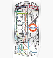 The Red Telephone box with the tube, underground Poster
