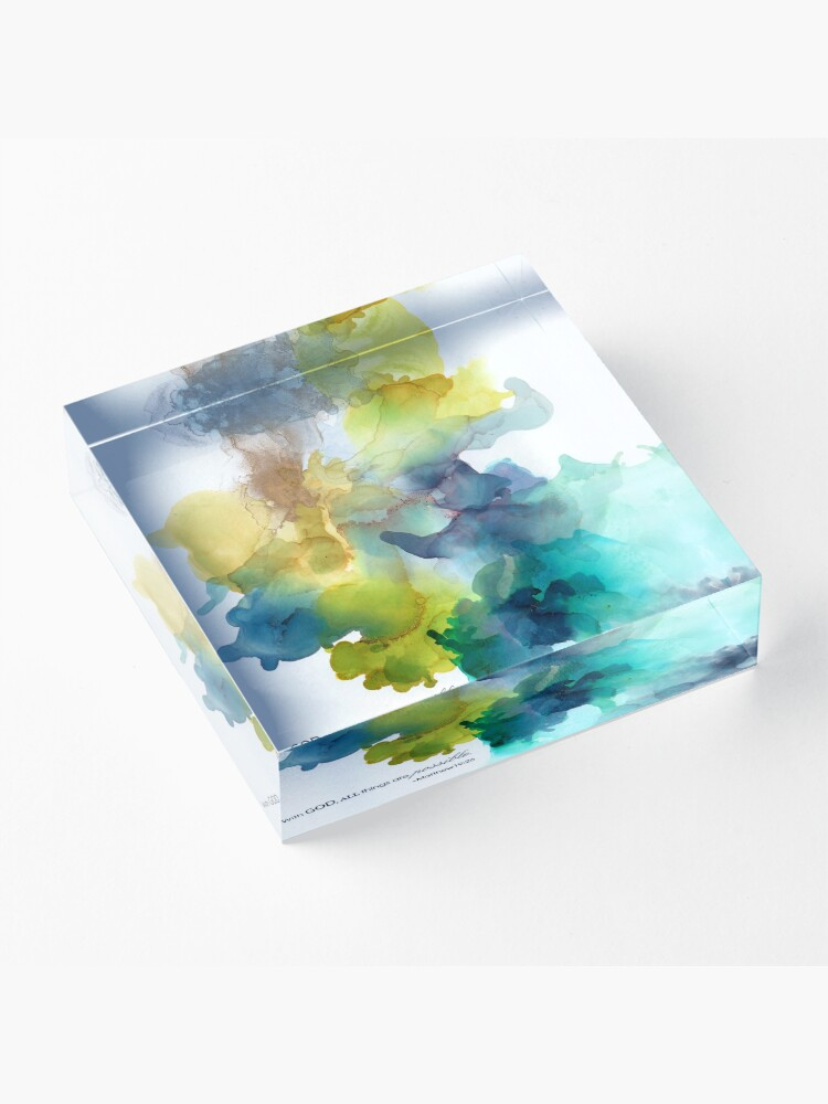 Alternate view of Mustard Green Teal Turquoise Gray Silver Christian Religious Art Acrylic Block