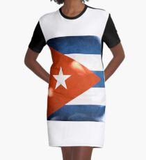 Cuba Flag Flame Graphic T-Shirt Dress