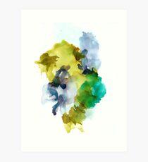 Mustard Green Teal Purple Steel Blue Abstract Art Art Print