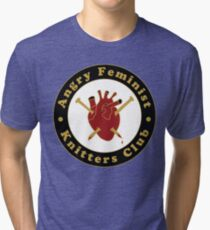 Angry Feminist Knitters Club Tri-blend T-Shirt