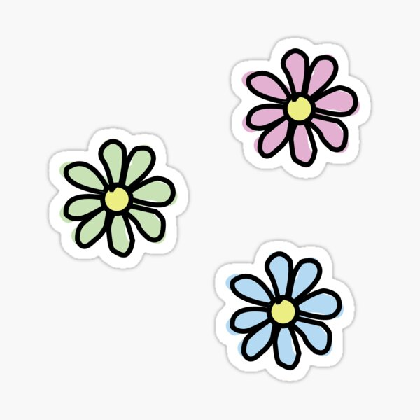 Flower - 3 Pack Blue Pink Green Sticker