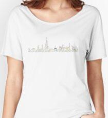 the Paris Metro system with the Paris skyline Paris, France, subway map Women's Relaxed Fit T-Shirt
