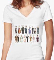 Downton A. Porträts Tailliertes T-Shirt mit V-Ausschnitt