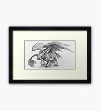 Toothless Pencil Drawing Framed Print