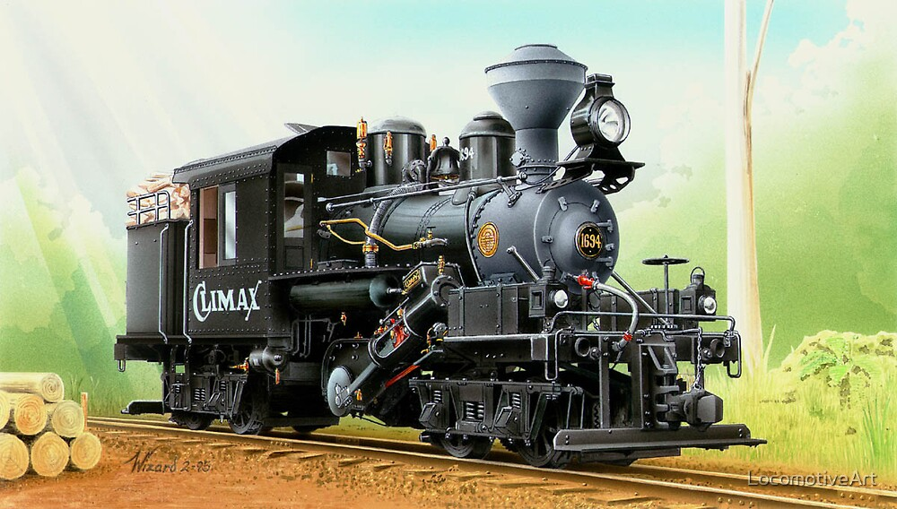 Quot Climax Geared Locomotive Quot By Locomotiveart Redbubble
