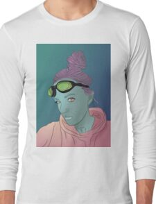 Alien green skin girl portrait with pink hair and googles Long Sleeve T-Shirt