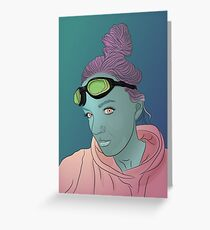 Alien green skin girl portrait with pink hair and googles Greeting Card