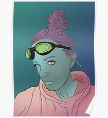 Alien green skin girl portrait with pink hair and googles Poster