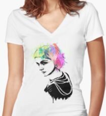 Coco Chanel Ink + Watercolor Portrait Art Women's Fitted V-Neck T-Shirt