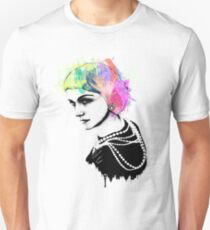 Coco Chanel Ink + Watercolor Portrait Art Unisex T-Shirt